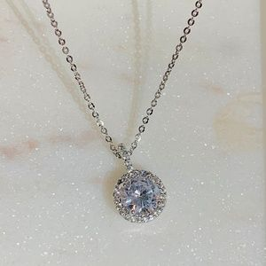 Jewelry - Classic Pave Halo Round Pendant Necklace